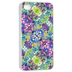 Colorful Modern Floral Print Apple Iphone 4/4s Seamless Case (white)