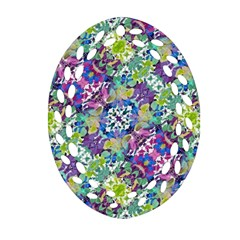 Colorful Modern Floral Print Oval Filigree Ornament (two Sides)