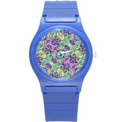 Colorful Modern Floral Print Round Plastic Sport Watch (s)