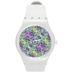 Colorful Modern Floral Print Round Plastic Sport Watch (m)
