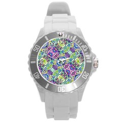 Colorful Modern Floral Print Round Plastic Sport Watch (l)