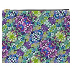 Colorful Modern Floral Print Cosmetic Bag (xxxl)