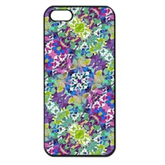 Colorful Modern Floral Print Apple Iphone 5 Seamless Case (black)