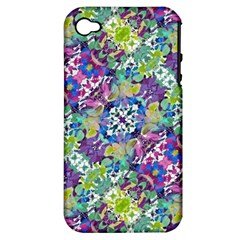 Colorful Modern Floral Print Apple Iphone 4/4s Hardshell Case (pc+silicone)