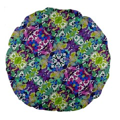 Colorful Modern Floral Print Large 18  Premium Round Cushions