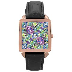 Colorful Modern Floral Print Rose Gold Leather Watch