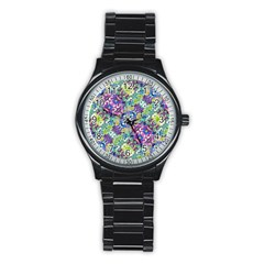 Colorful Modern Floral Print Stainless Steel Round Watch