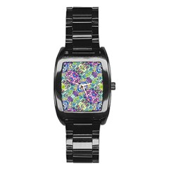 Colorful Modern Floral Print Stainless Steel Barrel Watch