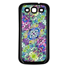 Colorful Modern Floral Print Samsung Galaxy S3 Back Case (black)