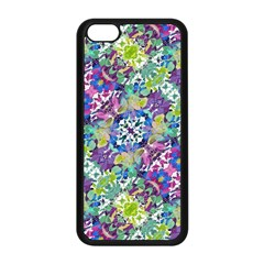 Colorful Modern Floral Print Apple Iphone 5c Seamless Case (black)