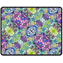 Colorful Modern Floral Print Double Sided Fleece Blanket (medium)