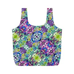 Colorful Modern Floral Print Full Print Recycle Bags (m)
