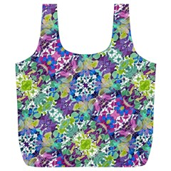 Colorful Modern Floral Print Full Print Recycle Bags (l)