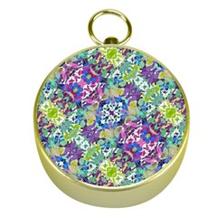 Colorful Modern Floral Print Gold Compasses