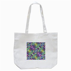 Colorful Modern Floral Print Tote Bag (white)