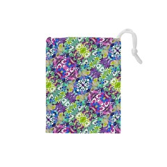 Colorful Modern Floral Print Drawstring Pouches (small)