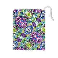 Colorful Modern Floral Print Drawstring Pouches (large)