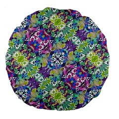 Colorful Modern Floral Print Large 18  Premium Flano Round Cushions
