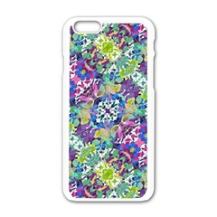 Colorful Modern Floral Print Apple Iphone 6/6s White Enamel Case