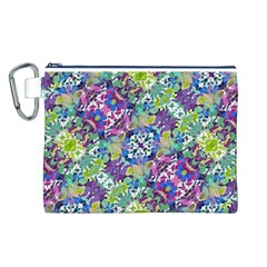 Colorful Modern Floral Print Canvas Cosmetic Bag (l)