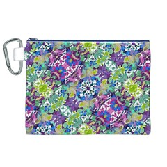 Colorful Modern Floral Print Canvas Cosmetic Bag (xl)