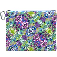 Colorful Modern Floral Print Canvas Cosmetic Bag (xxxl)