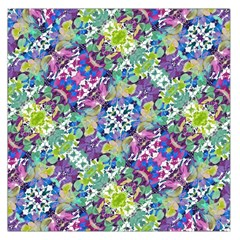 Colorful Modern Floral Print Large Satin Scarf (square)