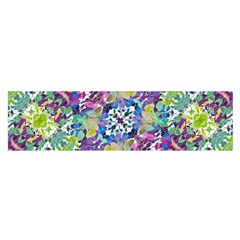 Colorful Modern Floral Print Satin Scarf (oblong)