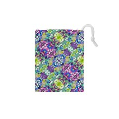 Colorful Modern Floral Print Drawstring Pouches (xs)