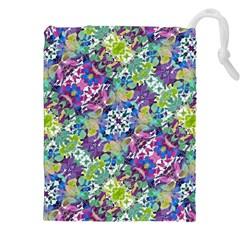 Colorful Modern Floral Print Drawstring Pouches (xxl)