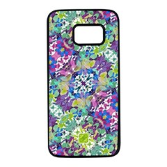 Colorful Modern Floral Print Samsung Galaxy S7 Black Seamless Case
