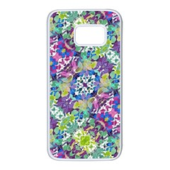 Colorful Modern Floral Print Samsung Galaxy S7 White Seamless Case