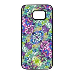 Colorful Modern Floral Print Samsung Galaxy S7 Edge Black Seamless Case