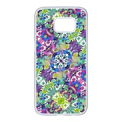 Colorful Modern Floral Print Samsung Galaxy S7 Edge White Seamless Case
