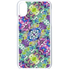 Colorful Modern Floral Print Apple Iphone X Seamless Case (white)