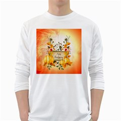 Happy Thanksgiving With Pumpkin White Long Sleeve T Shirts