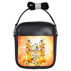 Happy Thanksgiving With Pumpkin Girls Sling Bags