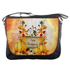 Happy Thanksgiving With Pumpkin Messenger Bags