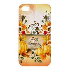 Happy Thanksgiving With Pumpkin Apple Iphone 4/4s Premium Hardshell Case