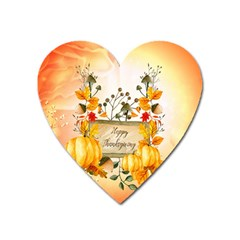 Happy Thanksgiving With Pumpkin Heart Magnet