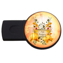 Happy Thanksgiving With Pumpkin Usb Flash Drive Round (4 Gb)