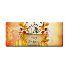Happy Thanksgiving With Pumpkin Hand Towel