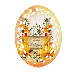 Happy Thanksgiving With Pumpkin Ornament (oval Filigree)