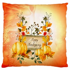 Happy Thanksgiving With Pumpkin Large Flano Cushion Case (two Sides)
