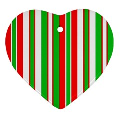 Christmas Holiday Stripes Red Ornament (heart)