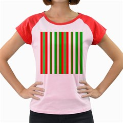 Christmas Holiday Stripes Red Women s Cap Sleeve T Shirt