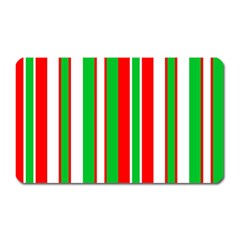 Christmas Holiday Stripes Red Magnet (rectangular)
