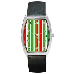 Christmas Holiday Stripes Red Barrel Style Metal Watch