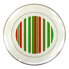Christmas Holiday Stripes Red Porcelain Plates