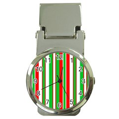 Christmas Holiday Stripes Red Money Clip Watches